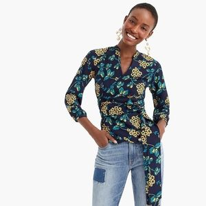 J. Crew Floral Faux Wrap Long Sleeve Blouse Tall